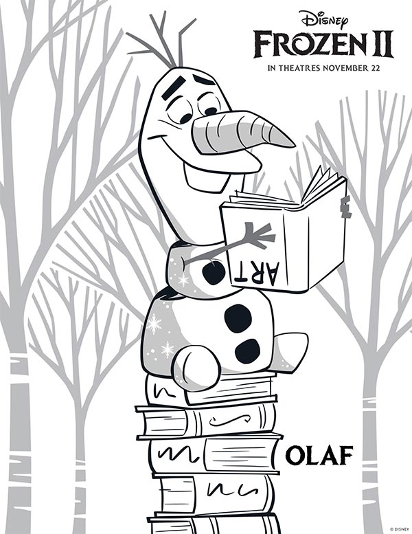Preview of Olaf coloring page from Frozen 2. Olaf sitting on stack of books and holding ART book upside down.