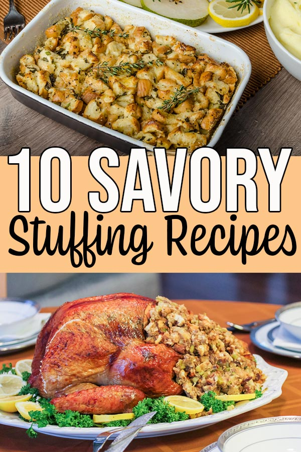 Stuffing in casserole dish and stuffing in turkey.