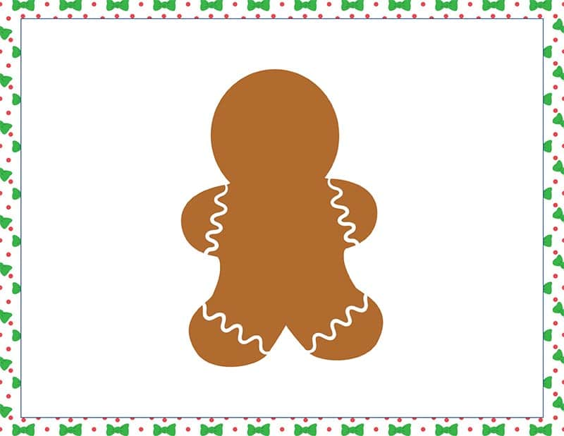 Blank gingerbread cookie playdough mat printable image preview
