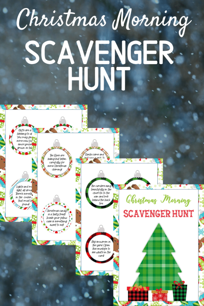 Pages of Christmas scavenger hunt on a snowy background with text overlay.