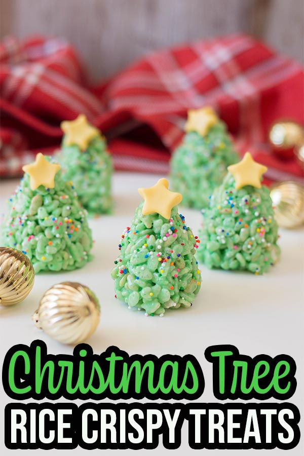 Completed rice crispy Christmas trees with text overlay.