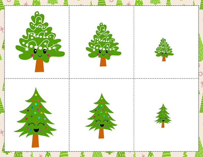 Cute Christmas trees with faces in different sizes.