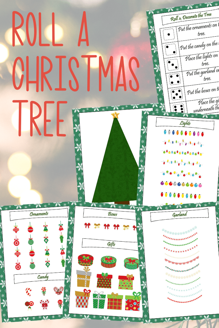 Preview images of printable pages for Christmas tree game for kids.