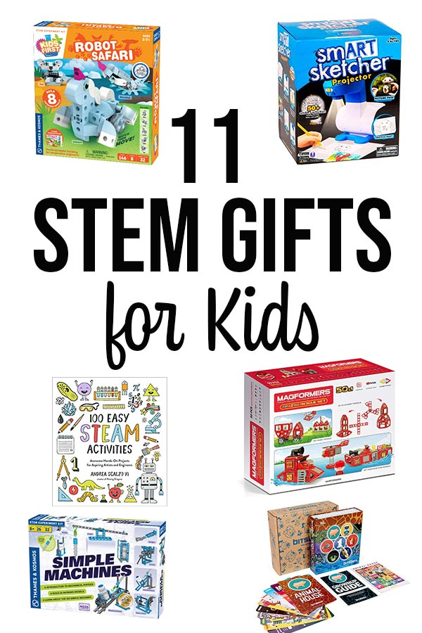 Collage of different STEM kits and toys.