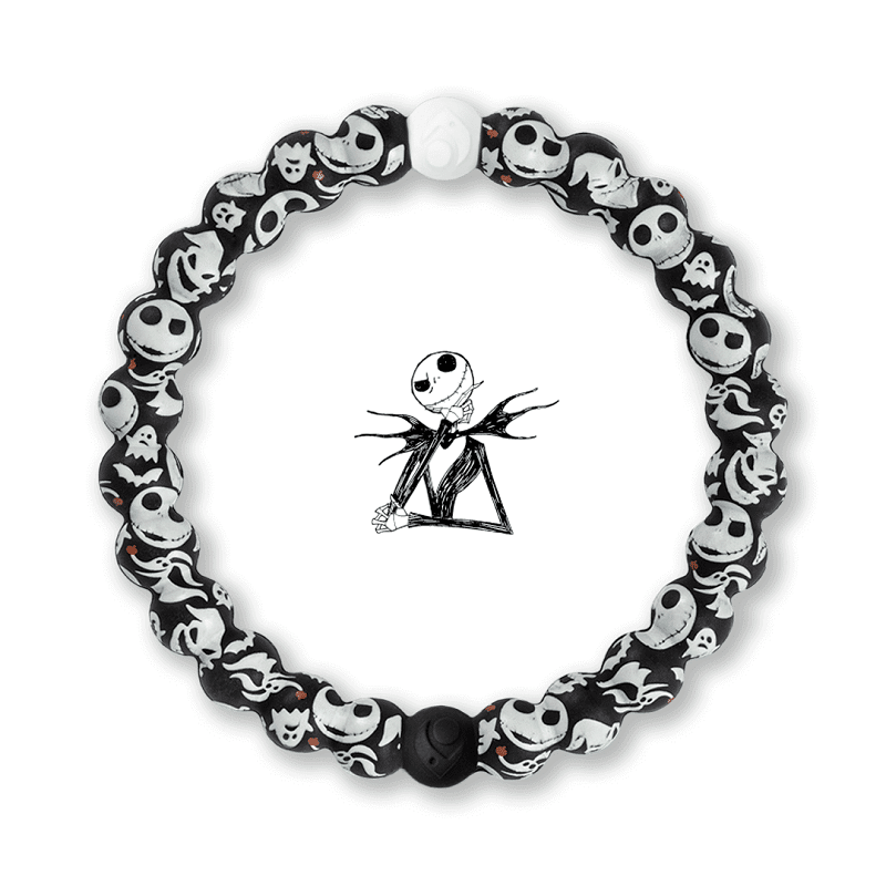 The Nightmare Before Christmas silicone bracelet by Lokai on a white background with the image of Jack Skellington in the center.