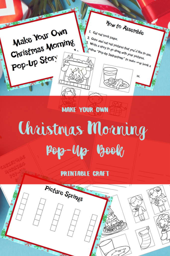 Preview images of Christmas pop up book printable pages.