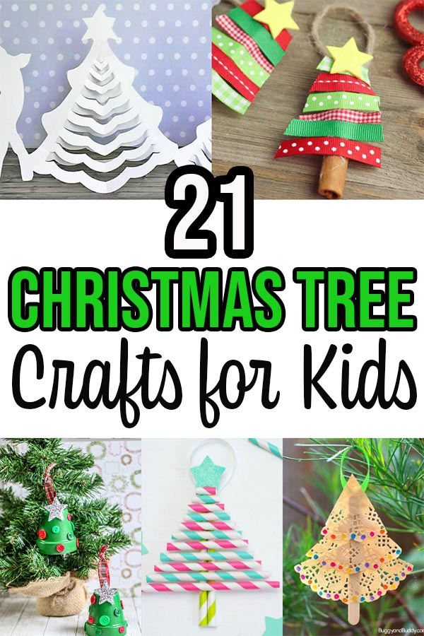 Collage of different Christmas tree crafts with text overlay.
