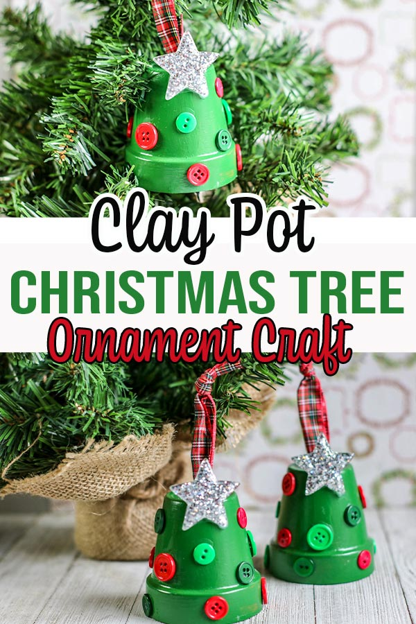 Collage of two images showing finished clay pot ornaments that look like little Christmas trees.