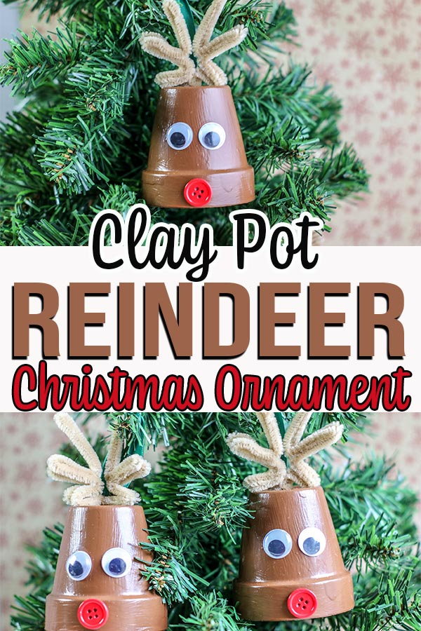 Collage of two images showing completed reindeer flower pot ornament crafts.