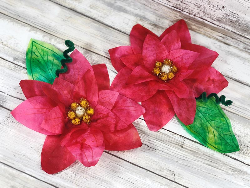 Two finished coffee filter poinsettia flowers sitting side by side on a white wood background.