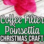 Image collage of finished coffee filter poinsettias with green rectangle in the middle with a text overlay stating name of project.