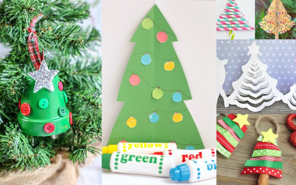 Different Christmas tree kid crafts in image collage