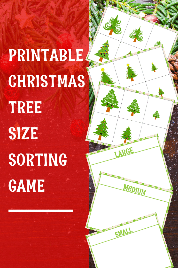 Preview images of Christmas tree sorting printable with a text overlay.