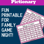 Preview images of printable Disney themed pictionary phrases with text overlay