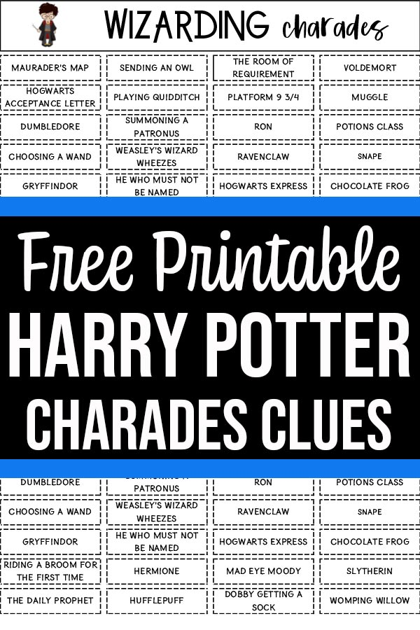 Wizarding charades printable list preview image with text overlay