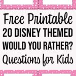 Preview of four printable Disney Would You Rather question cards and text overlay.