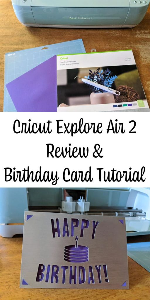 Collage of Cricut supplies and a completed birthday card.