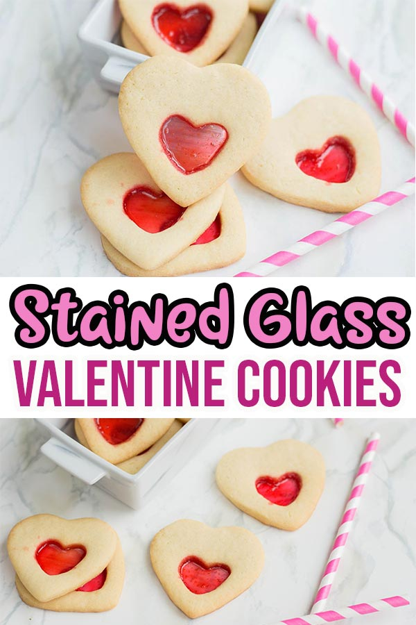 Collage of two images of baked heart stained glass cookies with text overlay.