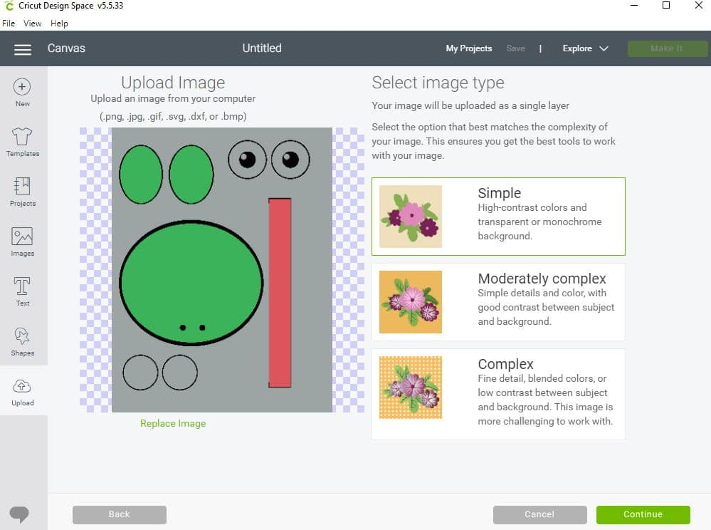 Screenshot of uploading frog template in Cricut Design Space.