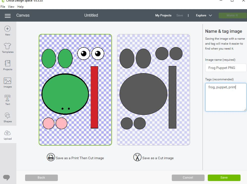 Screenshot demonstrating how to use print then cut function with frog template.