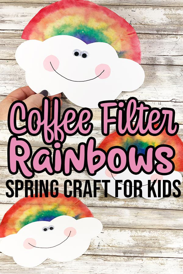Completed rainbow coffee filter crafts and text overlay describing project.