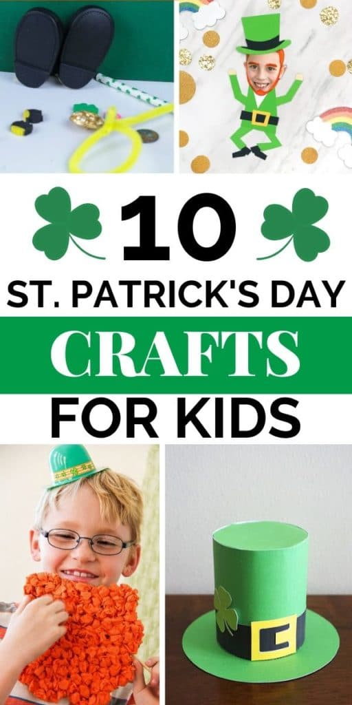 Collage of different leprechaun themed crafts kids can make.