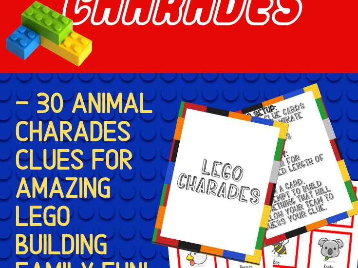 Preview of printable LEGO building cards with text overlay.