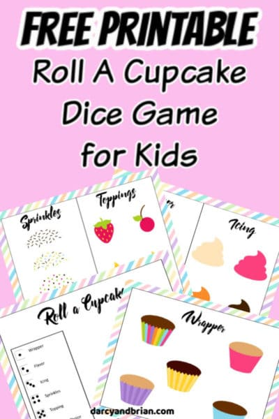 Preview images of printable cupcake game on a pink background with text overlay.