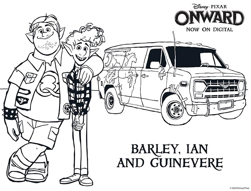 Onward movie coloring sheet featuring Barley, Ian, and Guinevere the van.