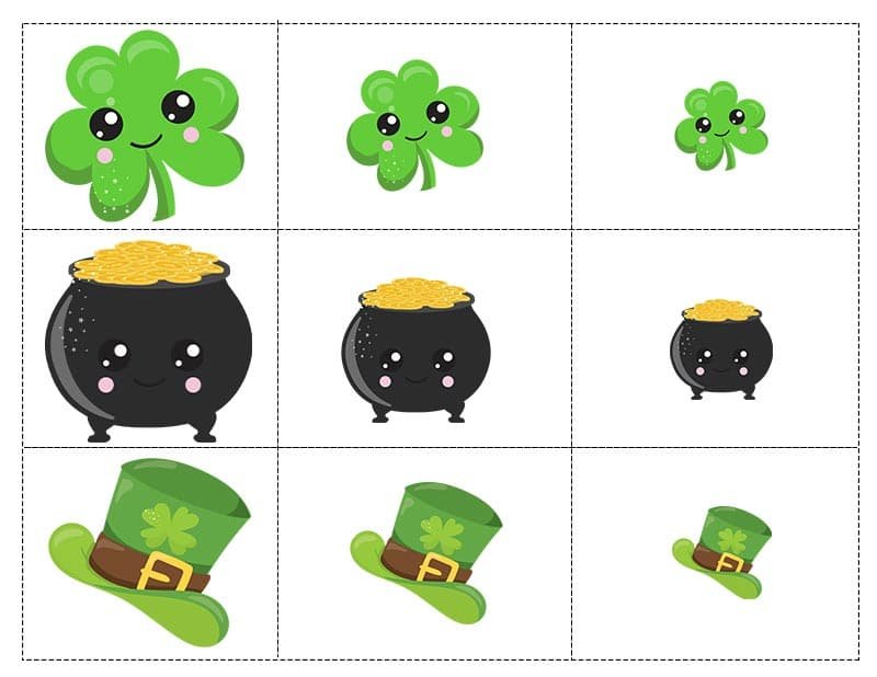 St Patrick's Day sorting game pieces with shamrocks, pots of gold, and leprechaun top hats.