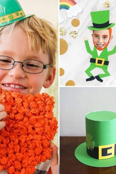 Leprechaun beard craft, leprechaun photo craft, and green top hat craft.