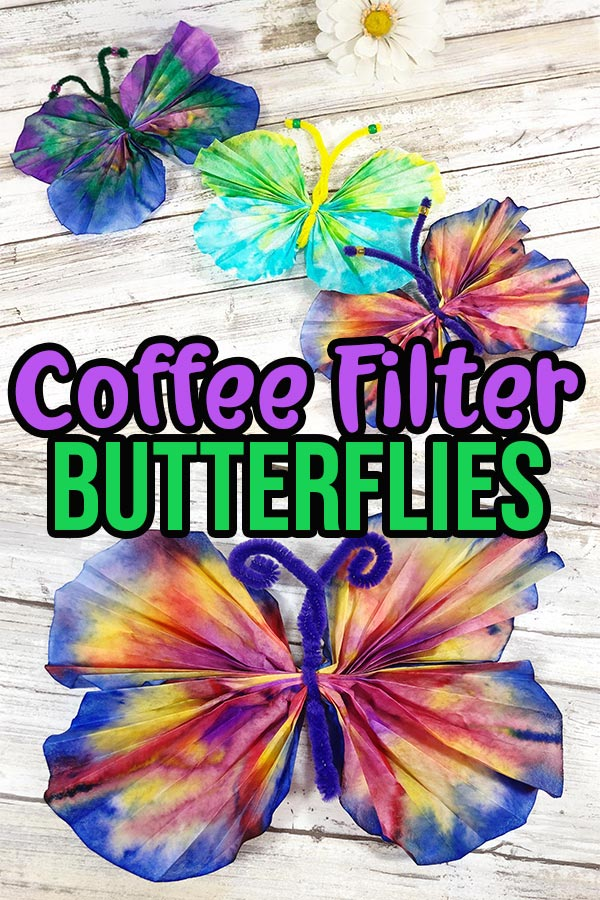 Collage of finished coffee filter butterflies with text overlay describing craft.
