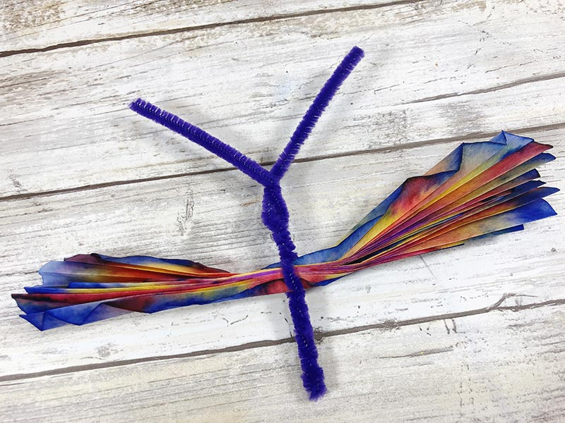 Chenille stem pipe cleaner twisted to create butterfly body.