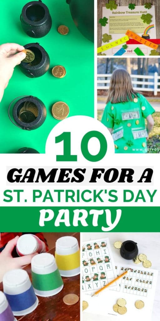 Collage of Saint Patrick's Day themed games and activities kids can play.