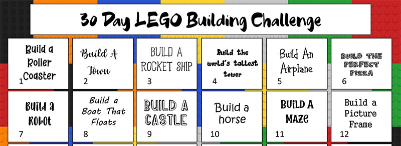 Preview of first two weeks of printable LEGO building calendar.