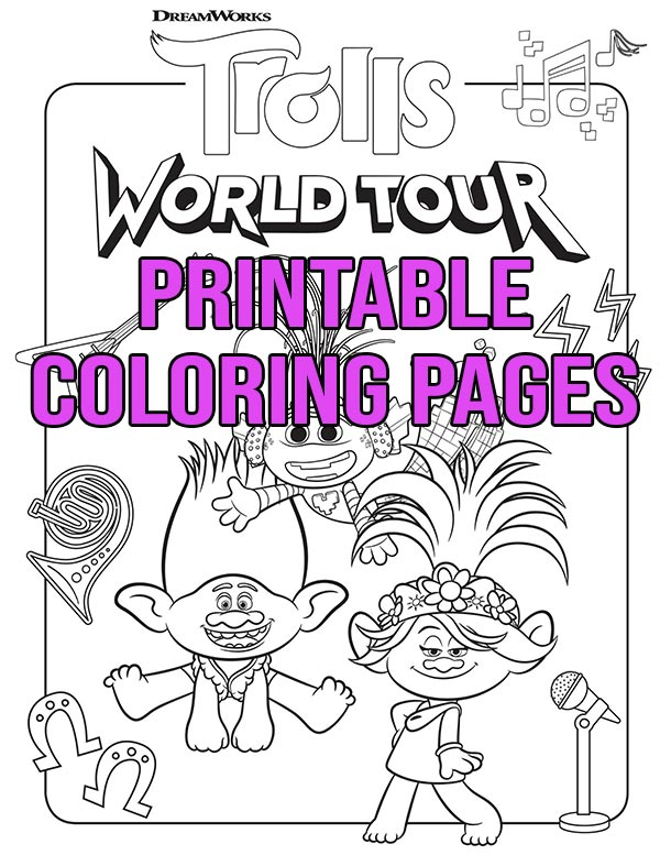 Trolls World Tour coloring page with Branch and Poppy