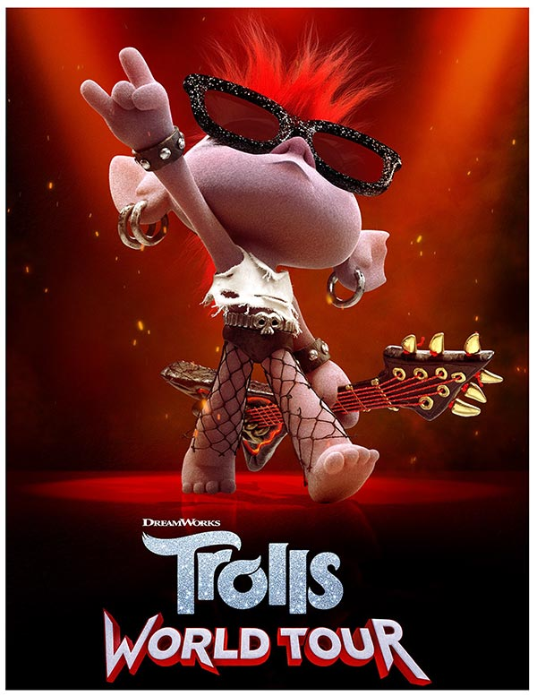 Trolls World Tour movie promotional poster of Barb on stage with guitar.