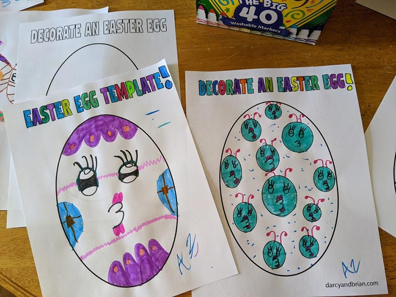 Two printable Easter egg printables colored in by child.