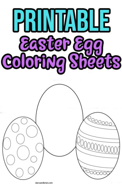 preview image of Easter egg coloring pages with text overlay.