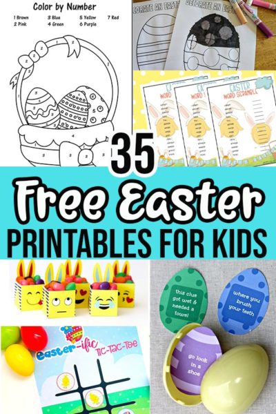 Image collage of printable Easter activities with text overlay.