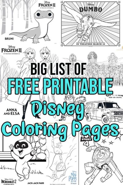 Collage of Disney printable coloring pages with text overlay.