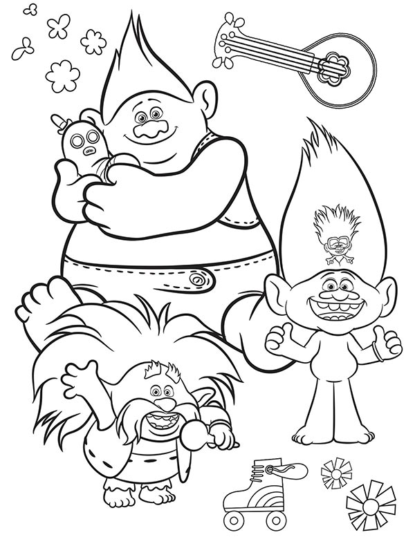 Preview of coloring page with several Trolls characters.