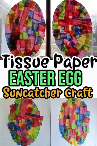 Image collage of tissue paper egg craft in process and completed.