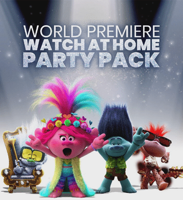 Trolls World Tour movie poster image with text overlay for watch party at home.
