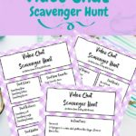 Image with preview of video call scavenger hunt printable pages.