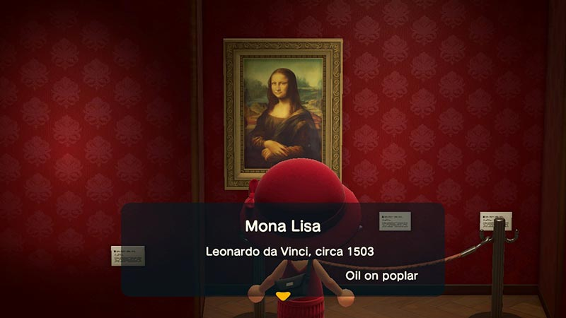 Player viewing the Mona Lisa painting in the game's museum art gallery in Animal Crossing New Horizons.