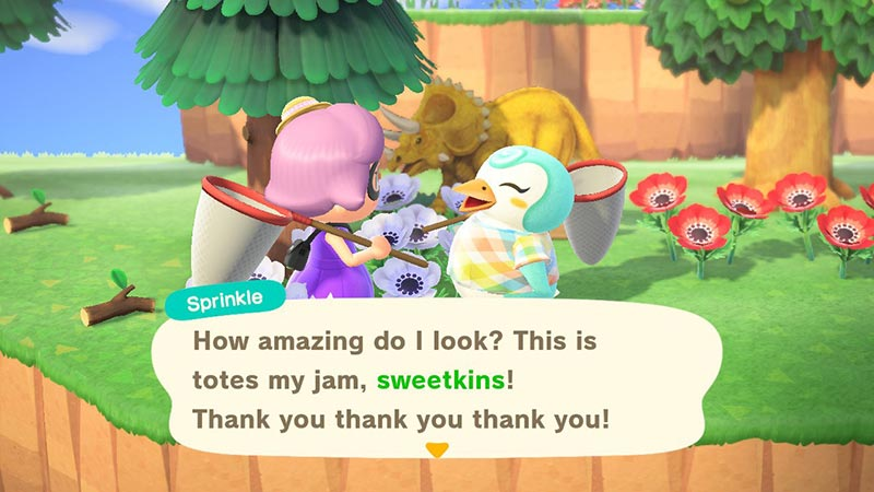 Player giving gift to Sprinkle, penguin villager in Animal Crossing New Horizons in game screenshot.