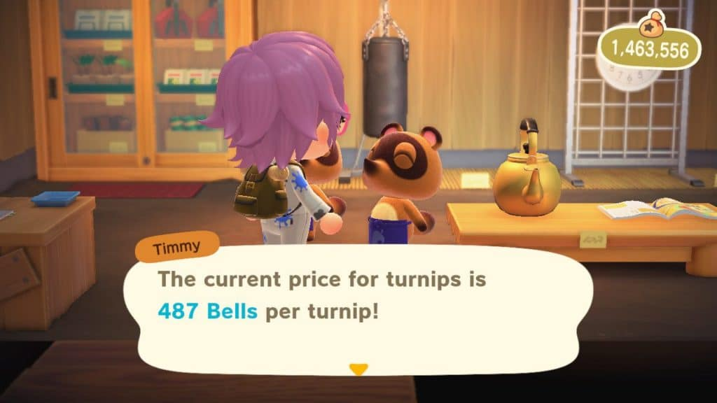 Screenshot of player asking TImmy about turnip prices in Animal Crossing New Horizons.