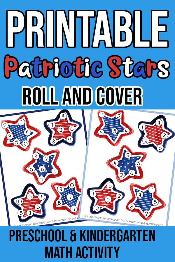 Preview of printable red, white, and blue stars roll and cover game. Stars have small circles with numbers on them. Page previews on light blue background with text overlay.