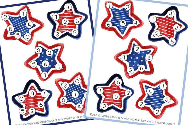 Preview of printable roll and cover game pages featuring red, white, and blue stars. Stars on left page feature numbers 0-9 and page on right has numbers 1-6 on it.
